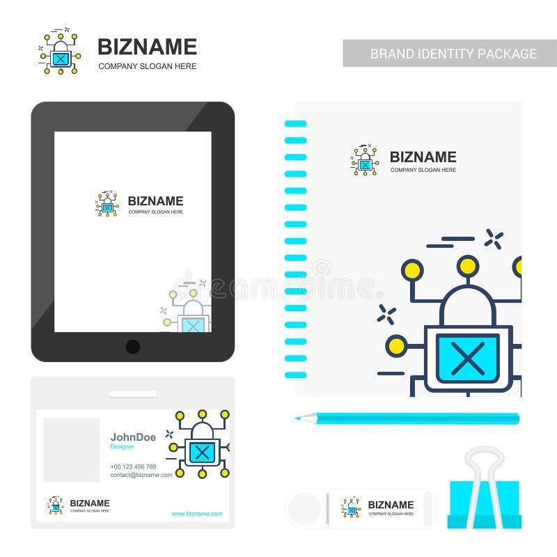 Stationäre Einzelteile des Firmendesigns mit Tablette und Logo entwerfen vect vektor abbildung