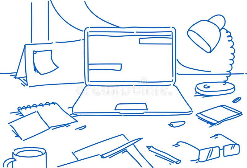 Stationäres Schreibtischgeschäft der kreativen Büroausgangsarbeitsplatzlaptoplampe Smartphonekalender-Glaspapier-Blattanmerkung lizenzfreie abbildung