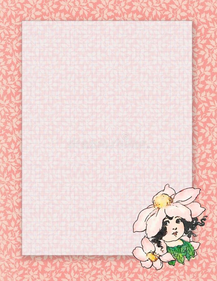 Stationärt eller bakgrund för tryckbar sjaskig chic stilblomma för tappning felikt stock illustrationer