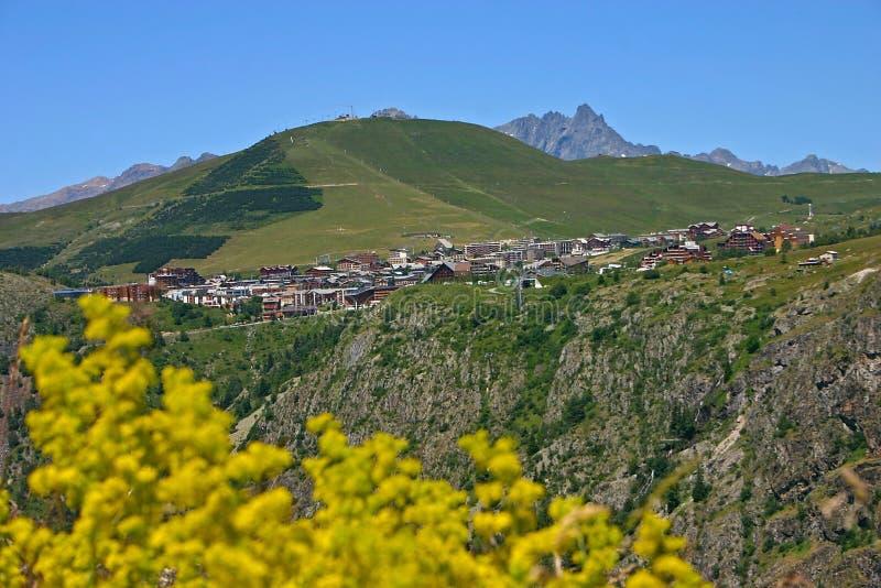 Station Alpe d'Huez stockfotos