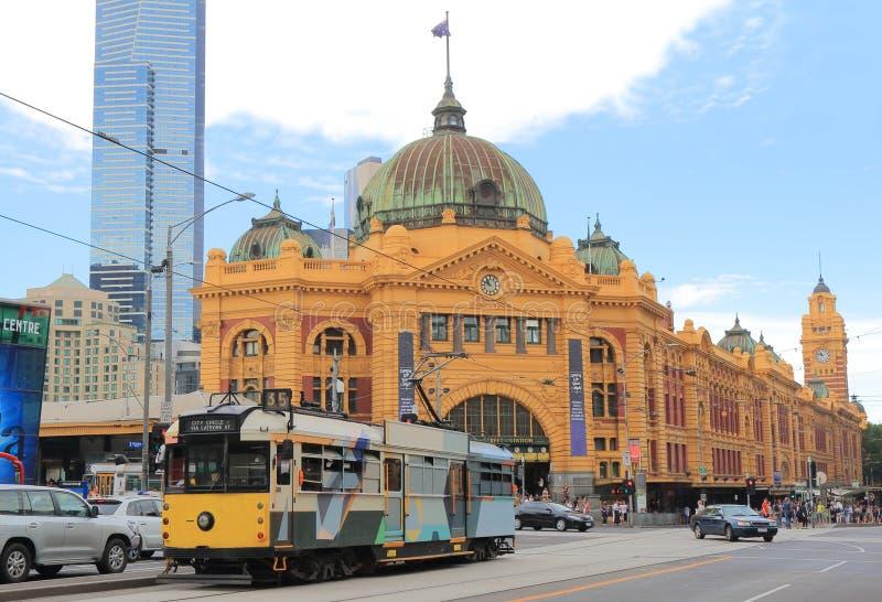 Station Australien för gata för Melbourne spårvagnFlinders arkivfoton