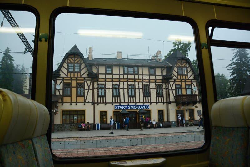 Starý Smokovec, railway station in the High Tatras royalty free stock photo