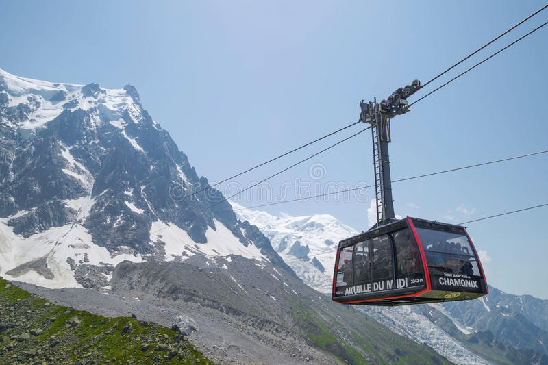 Station cable - 2317 m, on the route Chamonix to Aiguille du Midi. CHAMONIX, FRANCE - JULY 1. 2015. Cable Car from Chamonix to the summit of the Aiguille du Midi stock photo