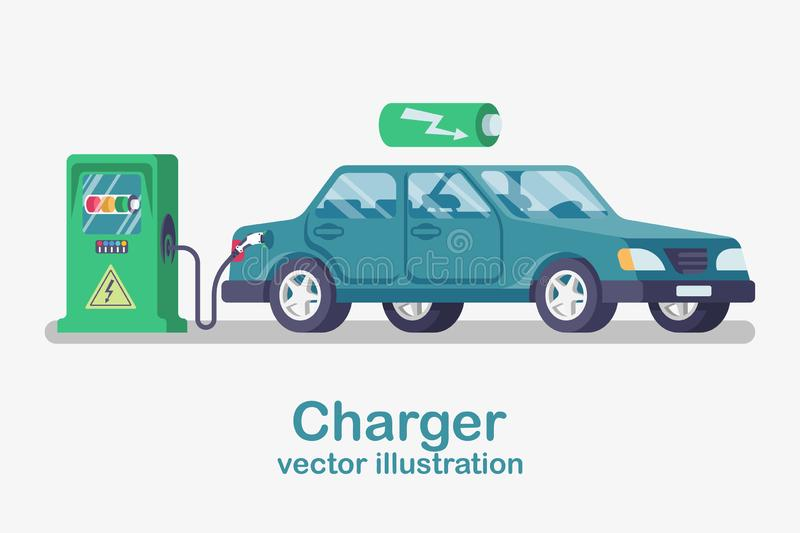 Station car charger. Electric refueling. Vehicle cartoon style. stock illustration
