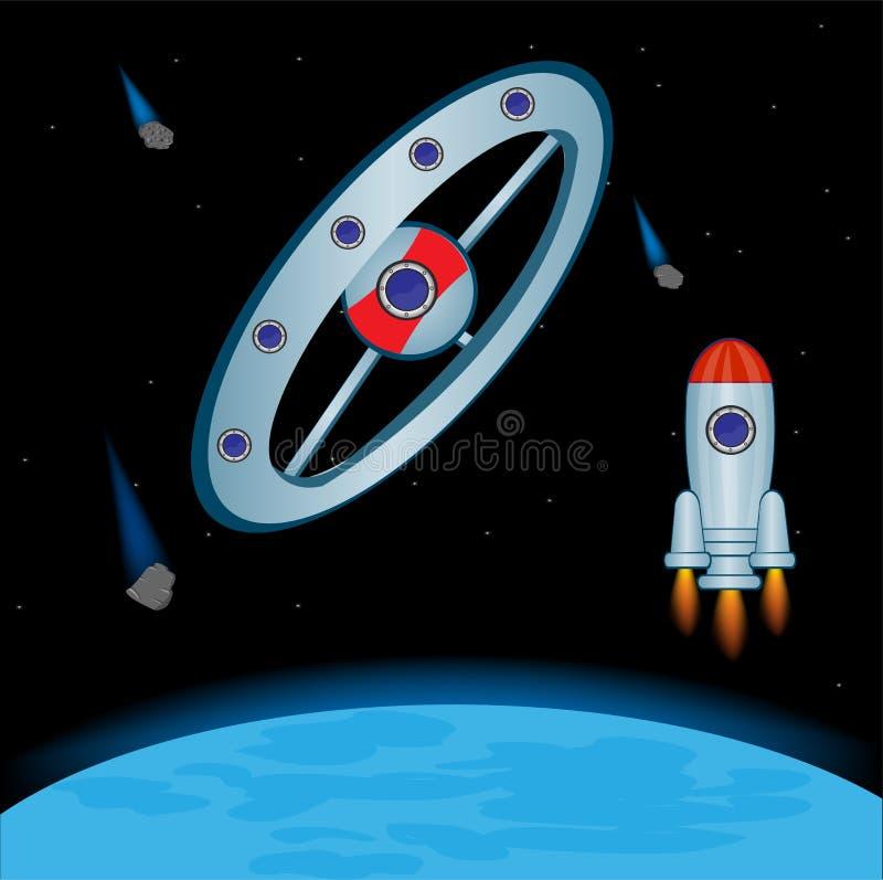 Station cosmique en cosmos illustration libre de droits