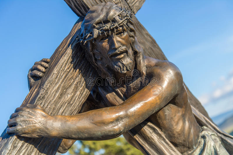 Station of the Cross Landmark Colorado. Historic landmark located in San Luis Colorado, near the New Mexico Border. This historic statue depicts Jesus Christ stock photography