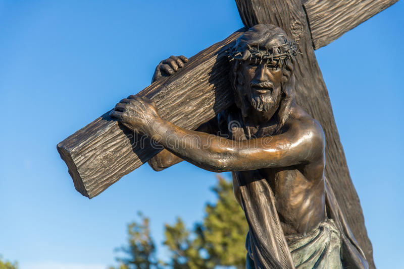 Station of the Cross Landmark Colorado. Historic landmark located in San Luis Colorado, near the New Mexico Border. This historic statue depicts Jesus Christ royalty free stock photography