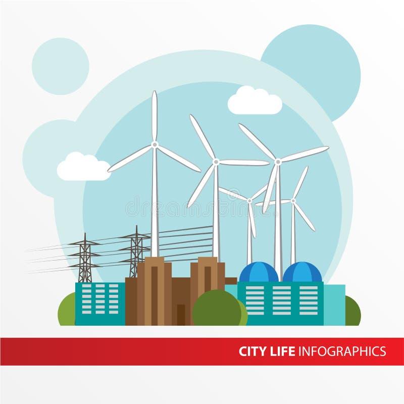 Station d'énergie éolienne Illustration colorée dans un style plat illustration de vecteur