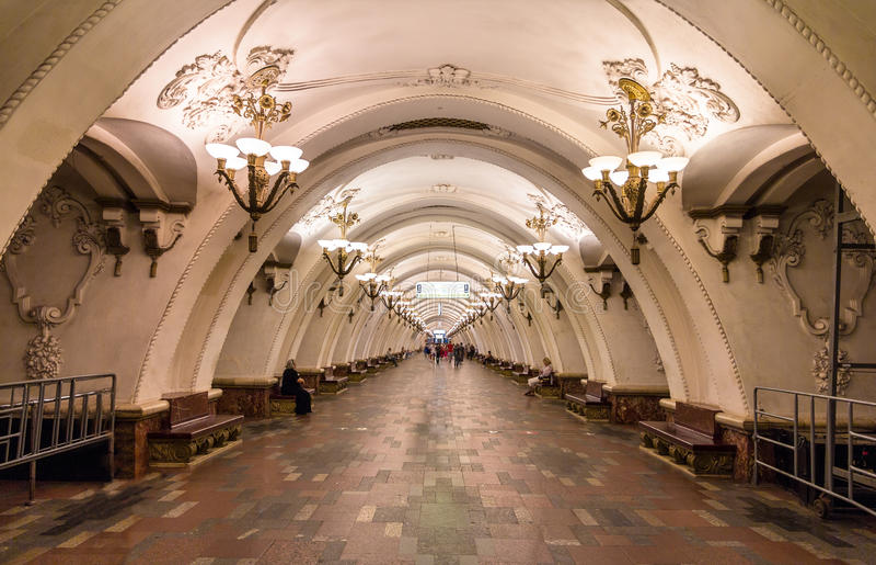 Station d'Arbatskaya de souterrain de Moscou image libre de droits