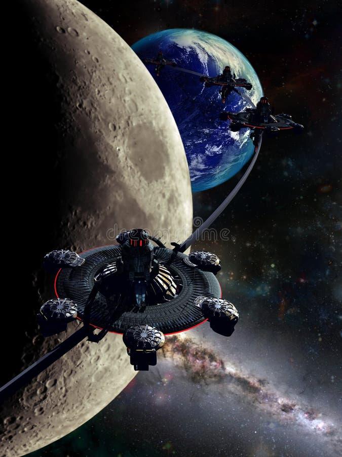 Station d'orbitale de lune illustration de vecteur