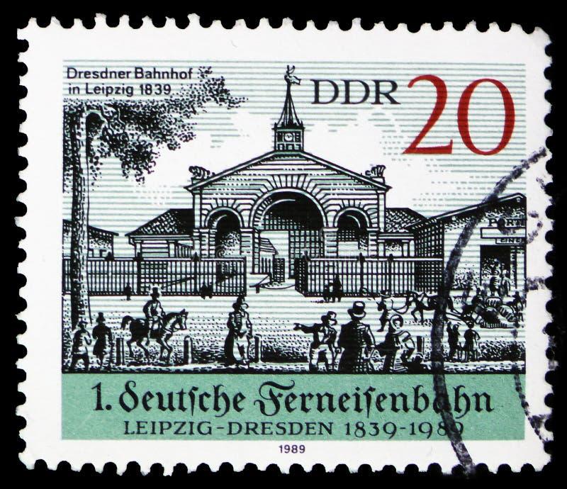 Station de Dresde ? Leipzig 1839, 150 ans de chemin de fer ? distance ; 200th anniversaire de serie de Friedrich List, vers 1989 photos libres de droits