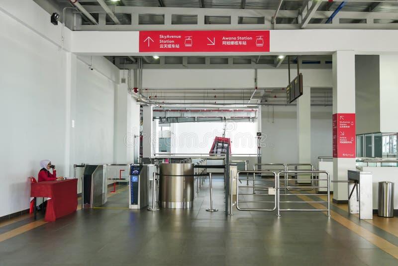Station de Genting Skyway fournissant une méthode de voyage entre le mail de SkyAvenue et la station d'Awana image libre de droits