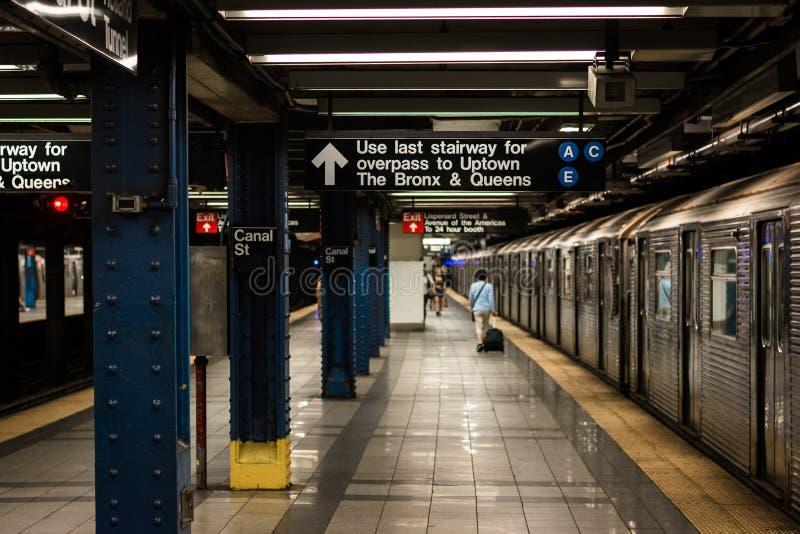 Station de métro de Canal Street à Manhattan, New York City photographie stock