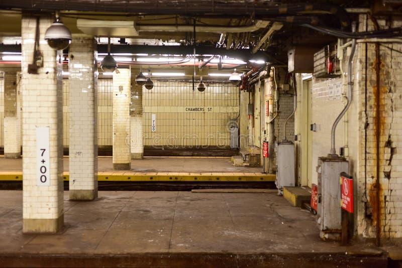 Station de métro de rue de chambres - New York City photographie stock libre de droits
