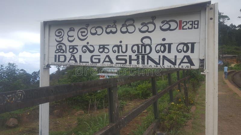 Station de manière de rail d'Idalgashinna - Sri Lanka photographie stock libre de droits