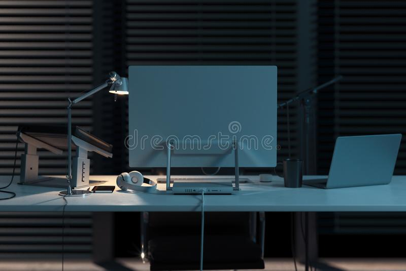 Station de musique d'ordinateur de studio dans le bureau élégant lumineux rendu 3d photos libres de droits