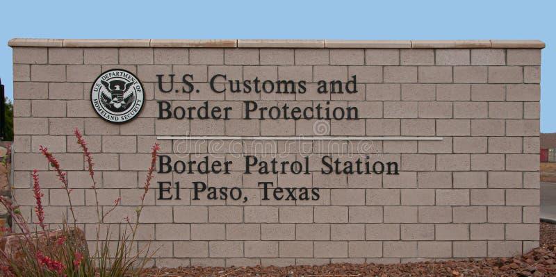 Station de patrouille de frontière, signe d'entrée principale d'El Paso le Texas image libre de droits
