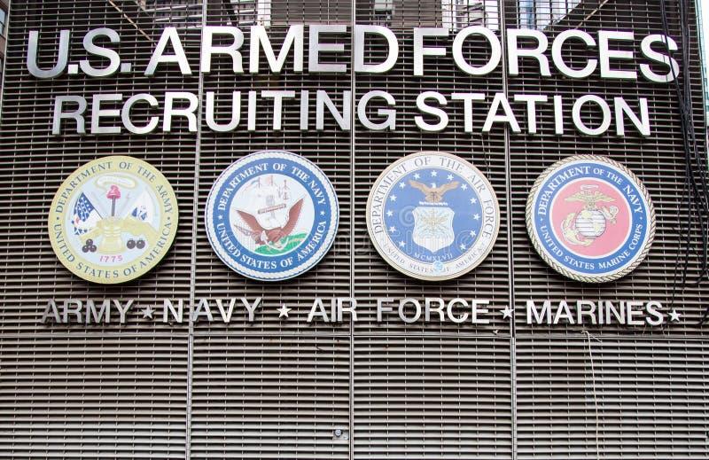 Station de recrutement de forces armées des USA photographie stock libre de droits
