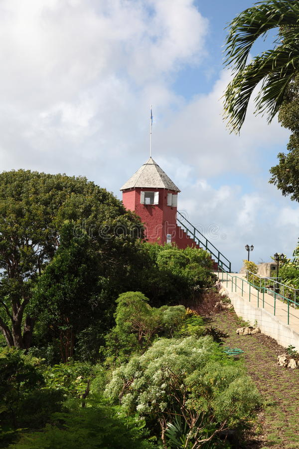 Station de signal de colline d'arme à feu, Barbade photos stock