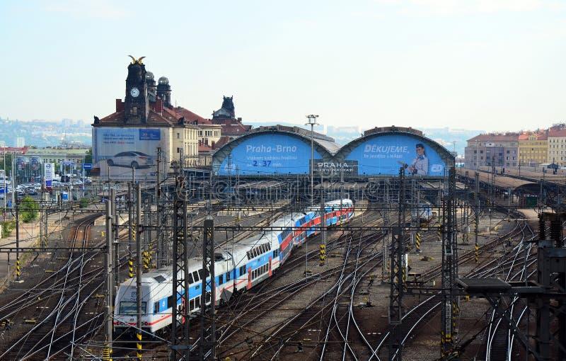 Station de train de Prague, train d'éléphant de ville images libres de droits