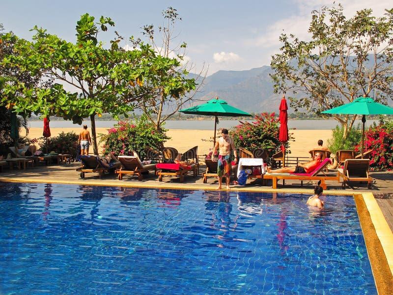 Station de vacances au Laos photographie stock
