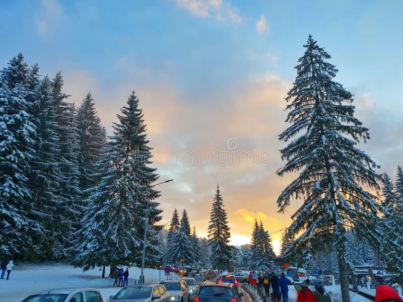 Station de vacances de ciel de montagne - Poiana Brasov images libres de droits