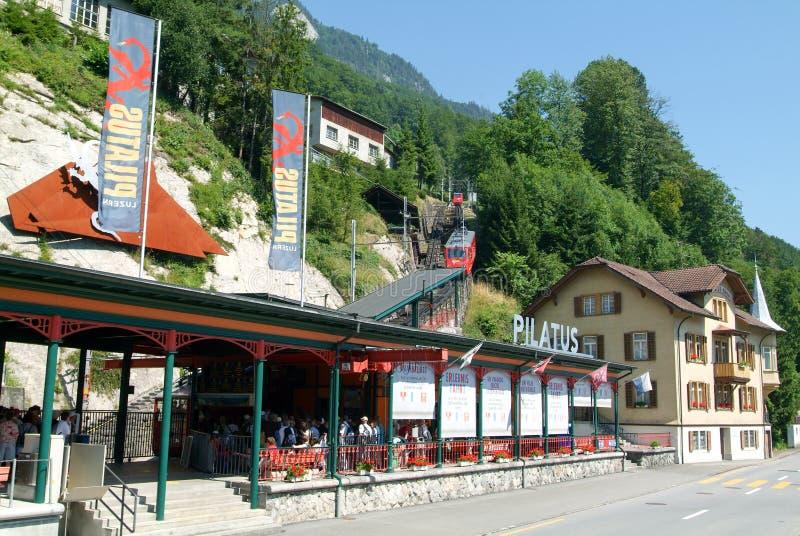 Station de vallée du Pilatusbahn dans Alpnachstad photographie stock