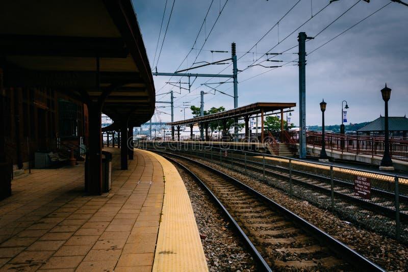 Station des syndicats et voies ferrées à nouvelle Londres, le Connecticut images stock
