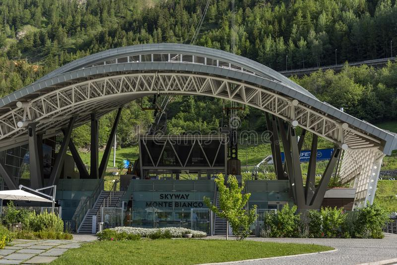 Station du téléphérique Skyway Monte Bianco images stock