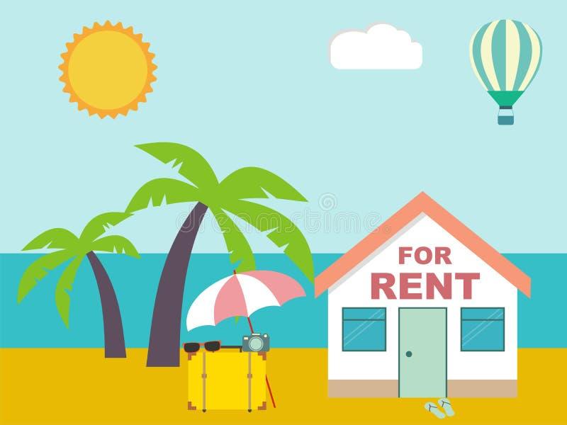 Station estivale Chambre pour le loyer sur la plage illustration stock