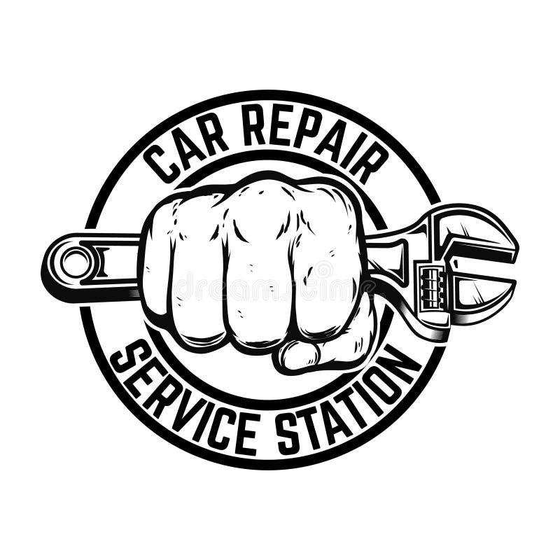 Station för bilreparationsservice Hand med den justerbara skiftnyckeln Planlägg beståndsdelen för logoen, etiketten, emblemet, te vektor illustrationer