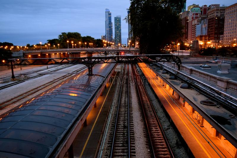 Station för drev för Chicago unionstation royaltyfria bilder