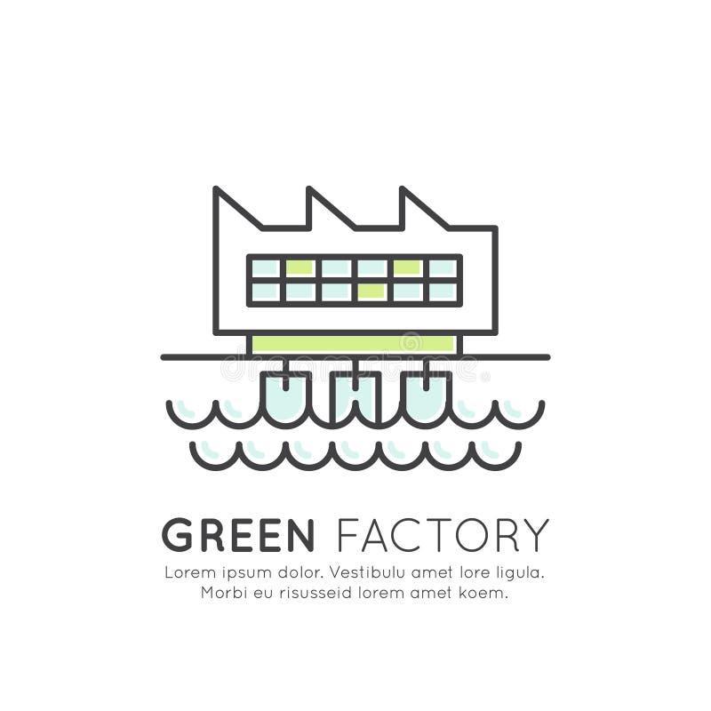 Station för elektrisk vattenkraft för maktfabrik, kedja för energiförsörjning för fördämningelektricitetsraster, alternativ källa vektor illustrationer