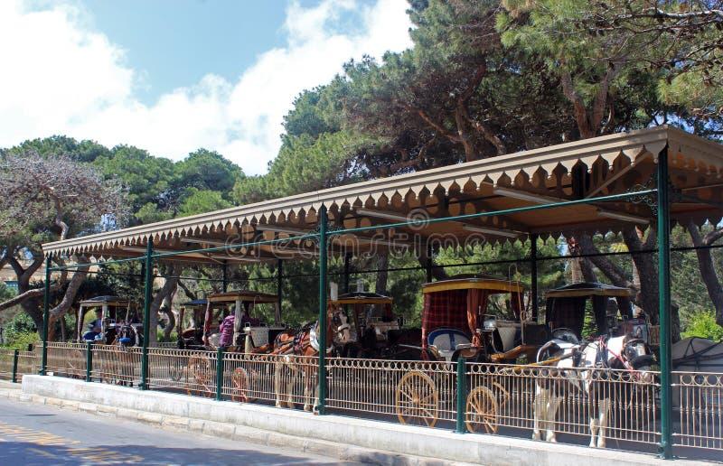 station för häst drog vagnar, Malta arkivfoton