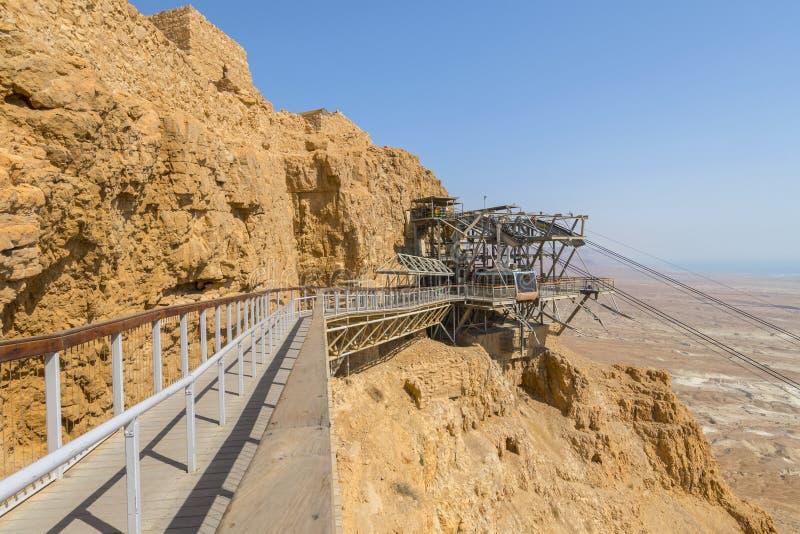 Station för kabelbil, Masada fästning i den Judaean öknen i Israel royaltyfri foto