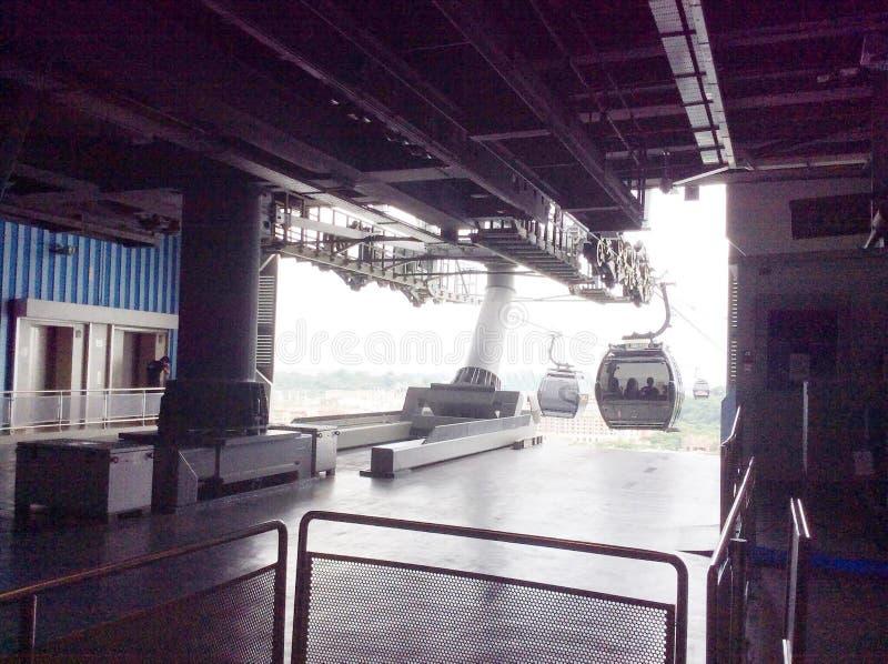 Station för kabelbil på Sentosa arkivbilder