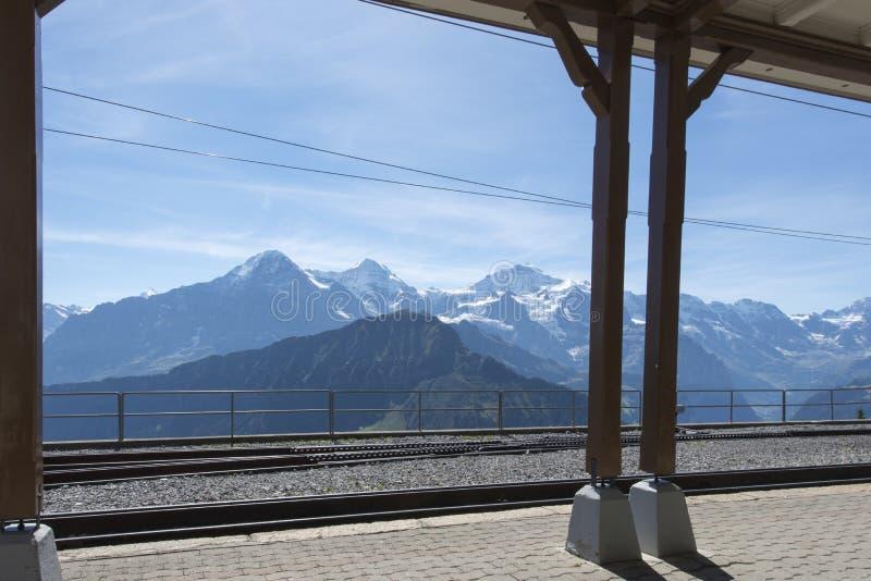 Station ferroviaire de terminus de Schynige Platte photographie stock