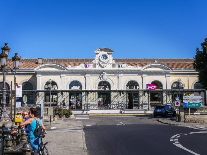 Station (Gare DE) Carcassonne royalty-vrije stock afbeelding