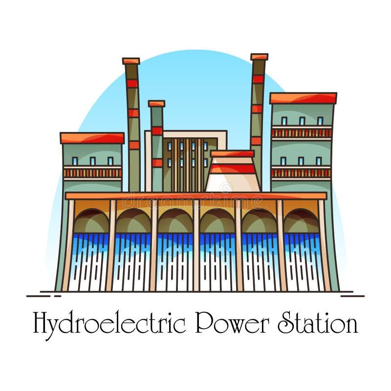 Station hydro-électrique avec la cascade, centrale hydro-électrique illustration stock