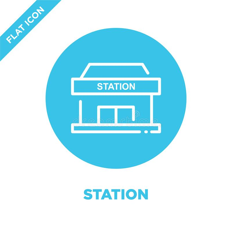 station icon vector. Thin line station outline icon vector illustration.station symbol for use on web and mobile apps, logo, print royalty free illustration