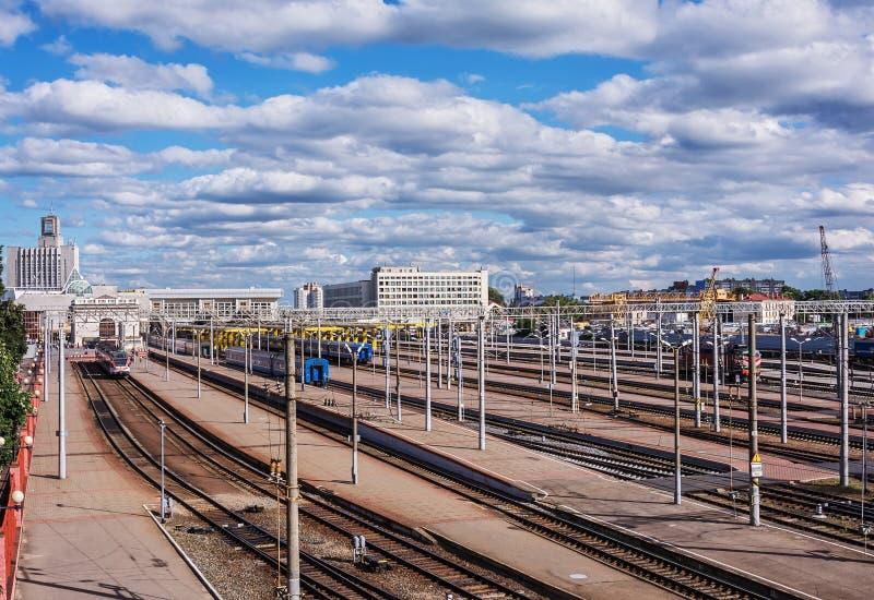 Station ` Minsk-Passazhirsky ` Wit-Rusland, Minsk stock afbeelding