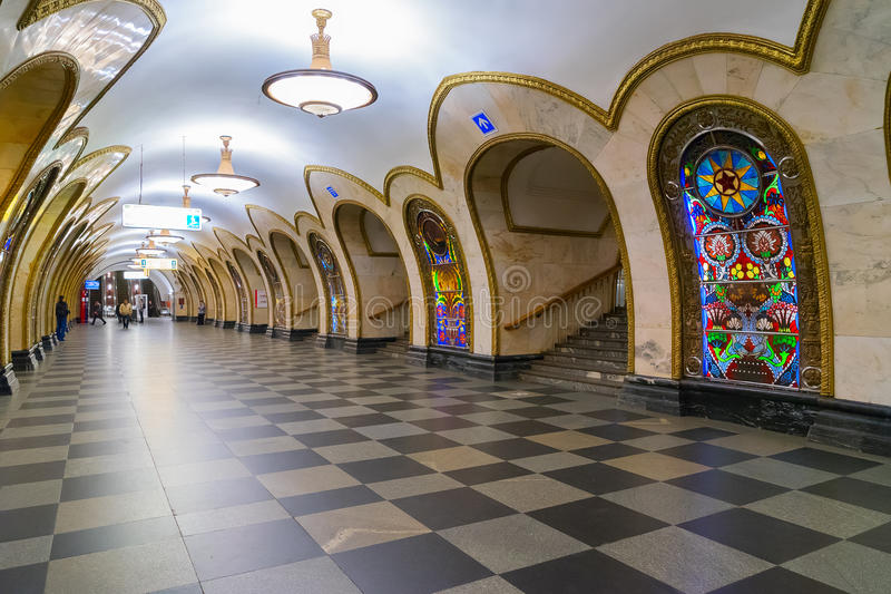 Station of Moscow metro. Station of Moscow public metro station Nowosloboskaya, Russia stock photo