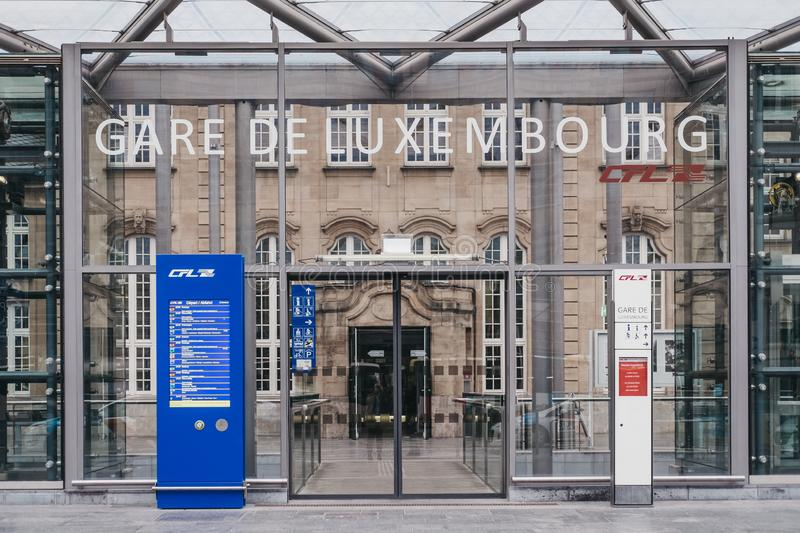 Station name sign at the entrance of Gare de Luxembourg railway royalty free stock images