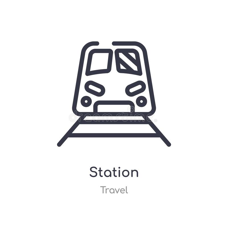 Station outline icon. isolated line vector illustration from travel collection. editable thin stroke station icon on white. Background vector illustration