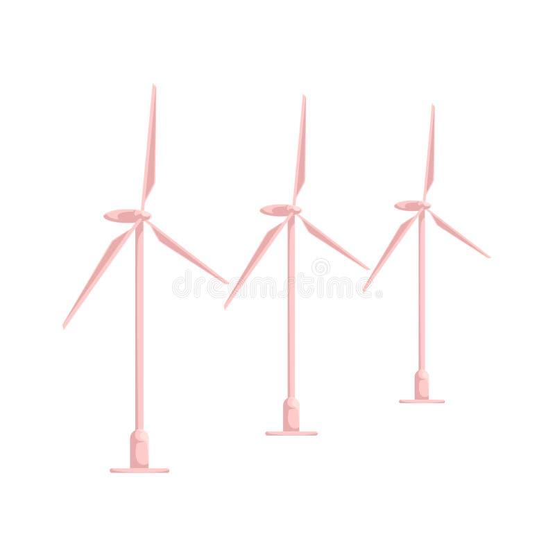 Station plate d'énergie éolienne de bande dessinée de vecteur d'isolement illustration libre de droits