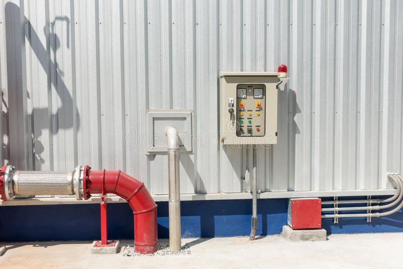 Station pump for fire protection system and control panel, Equip. Ment control panel royalty free stock photos