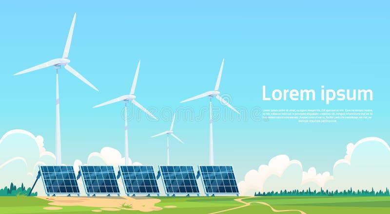 Station renouvelable de panneau à énergie solaire de turbine de vent illustration de vecteur
