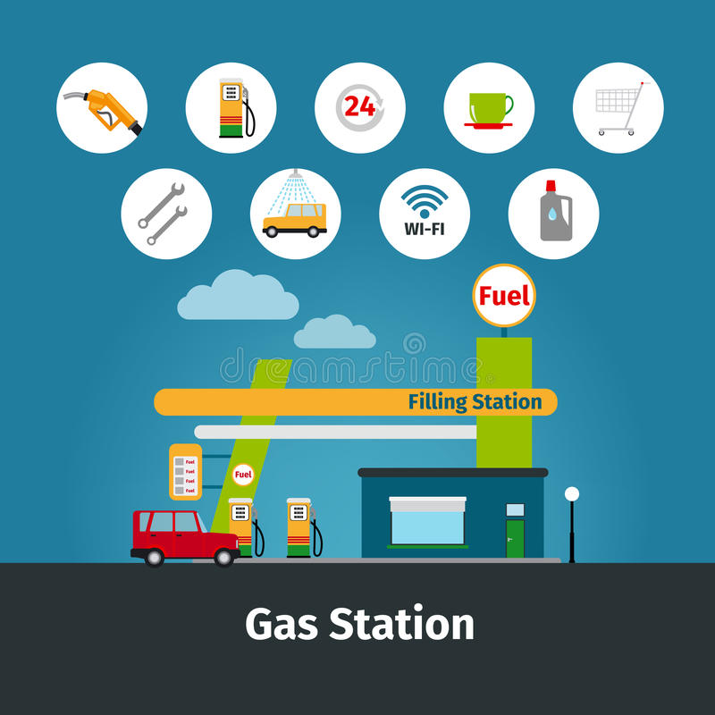 Station service avec les icônes plates illustration de vecteur