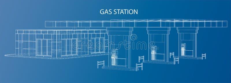 Station service Illustration de vecteur de cadre de fil illustration de vecteur