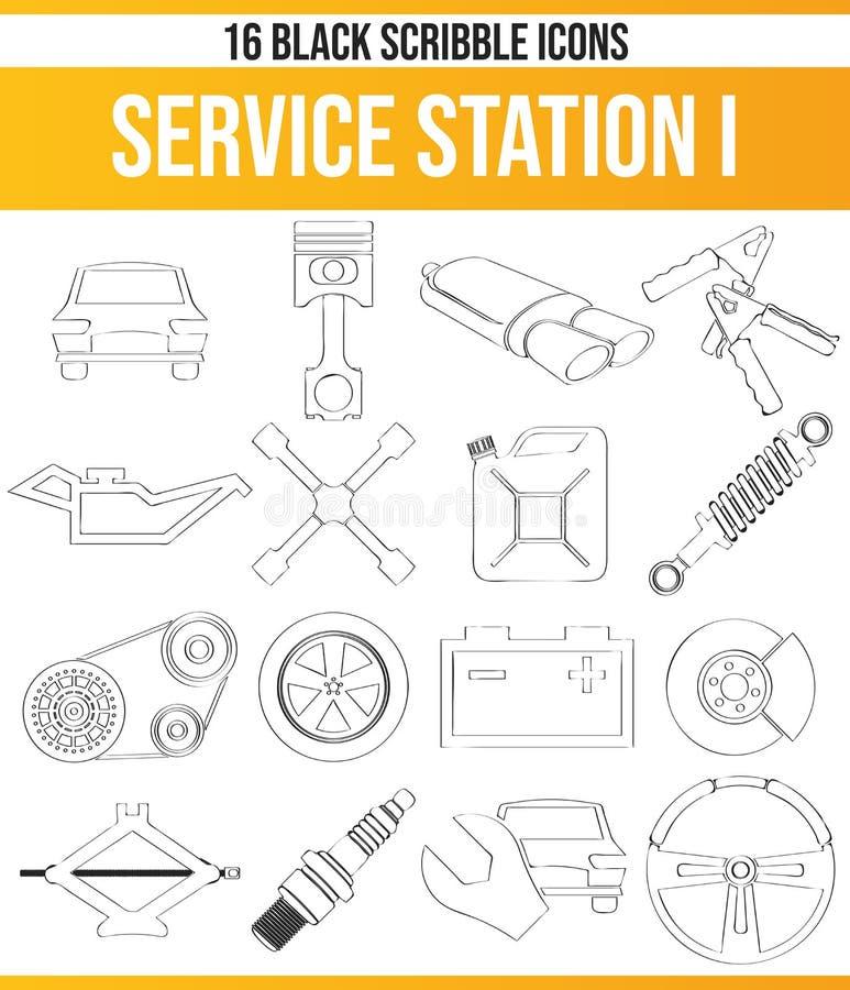 Station service noire I d'ensemble d'icône de griffonnage illustration libre de droits